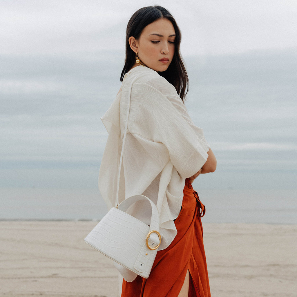 Enchanted Bucket Bag in White | Parisa Wang | Featured
