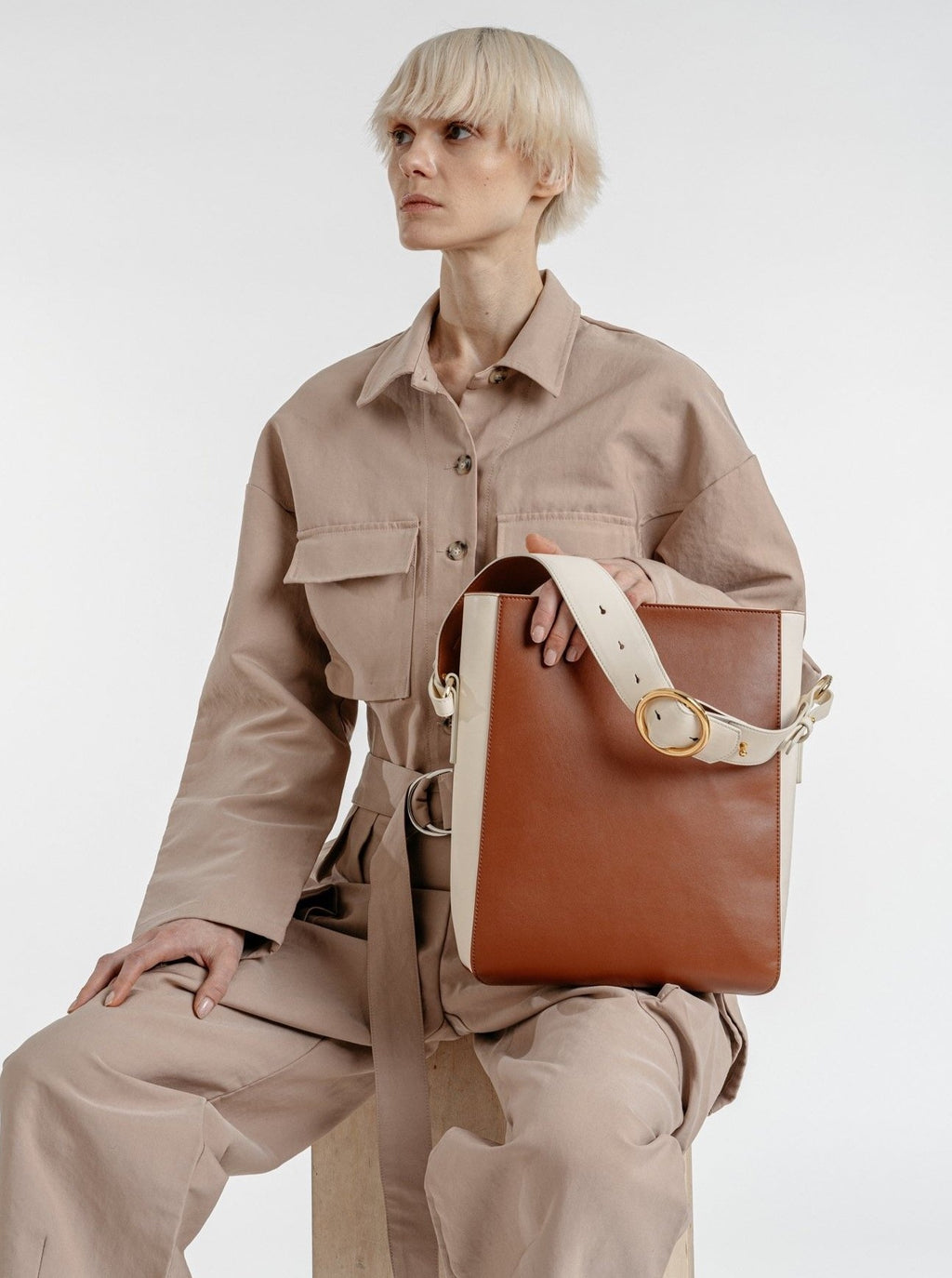 Allured Medium Tote Bag in Brown Cream | Parisa Wang | Featured