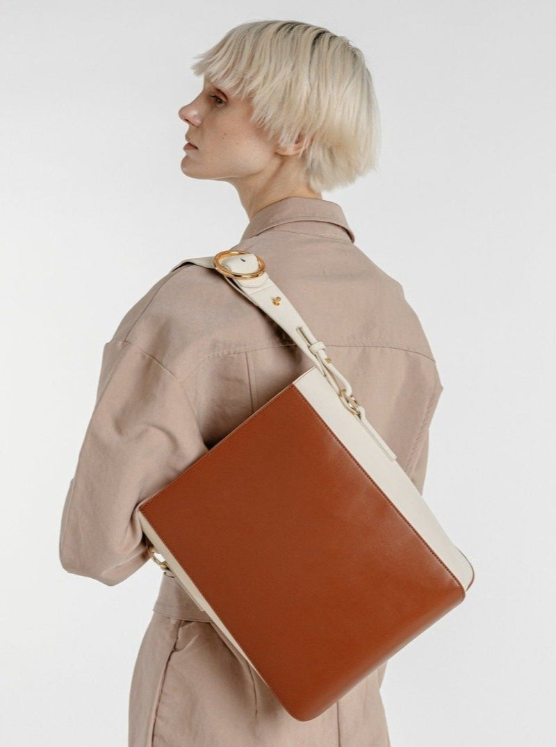 Allured Medium Tote Bag in Brown | Parisa Wang | Featured