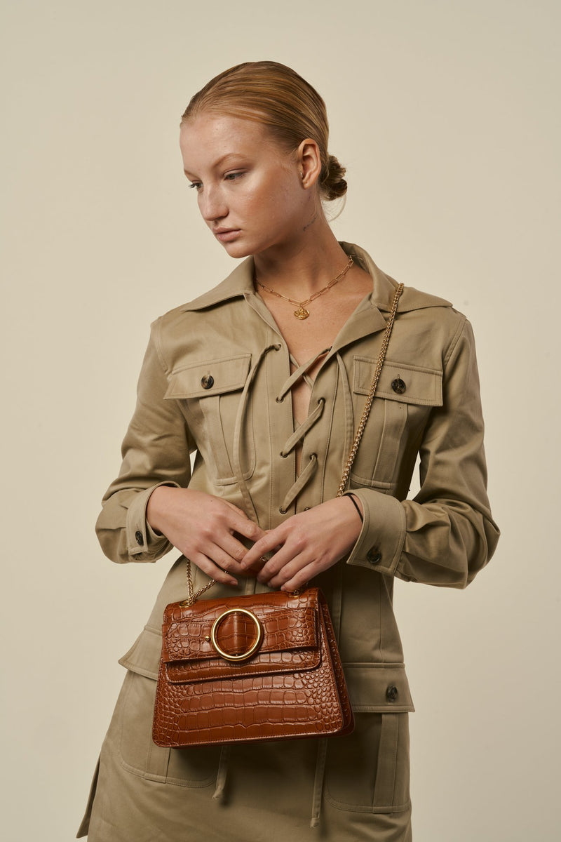 Allured Chain Bag in Camel | Parisa Wang | Featured