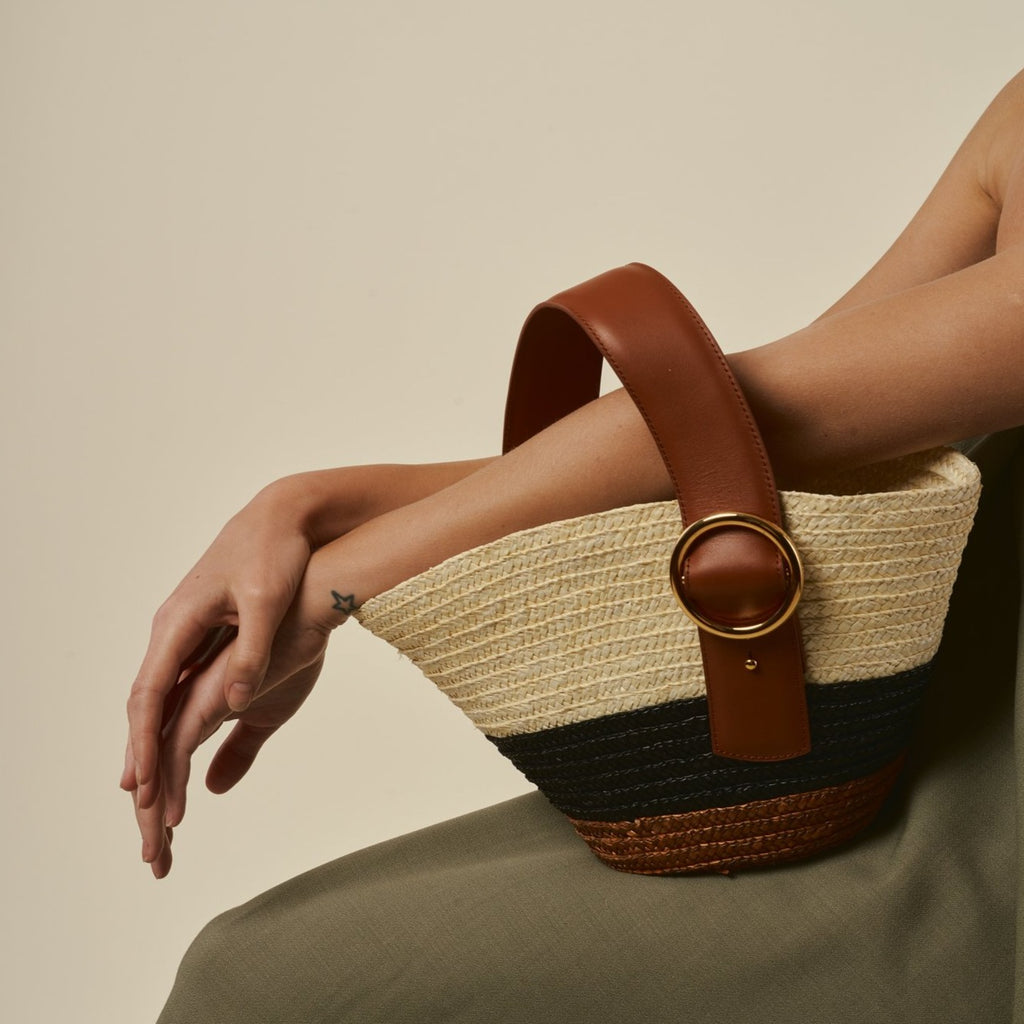 Enchanted Straw Bag in Brown Black | Parisa Wang | Featured