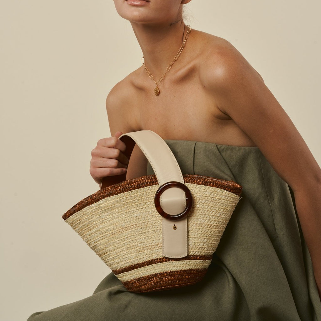 Enchanted Straw Bag in Cream Brown | Parisa Wang | Featured