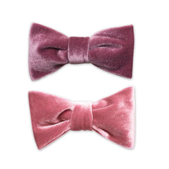 Soft Lilac and Rose Pink Velvet Barrette Bows