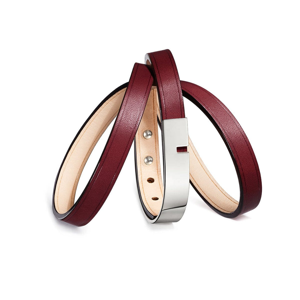 Burgundy leather bracelet U'TURN TRIPLE