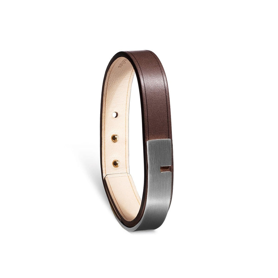 Bracelet cuir marron, U-TURN