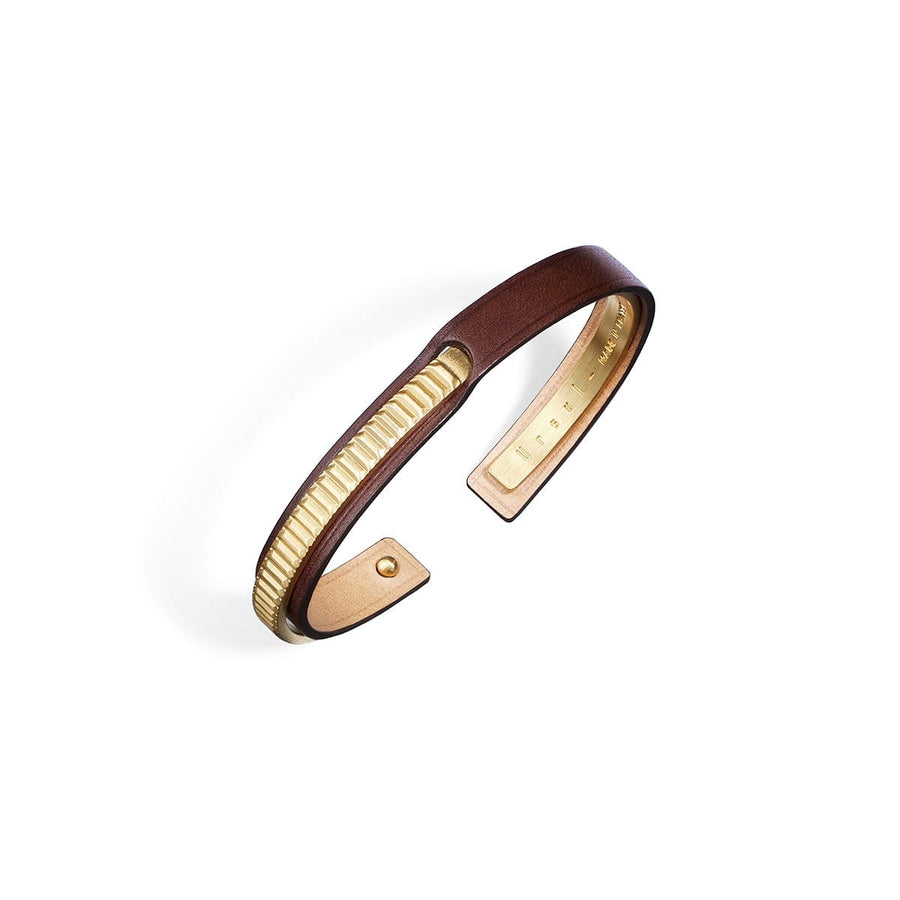 bracelet cuir homme marron or