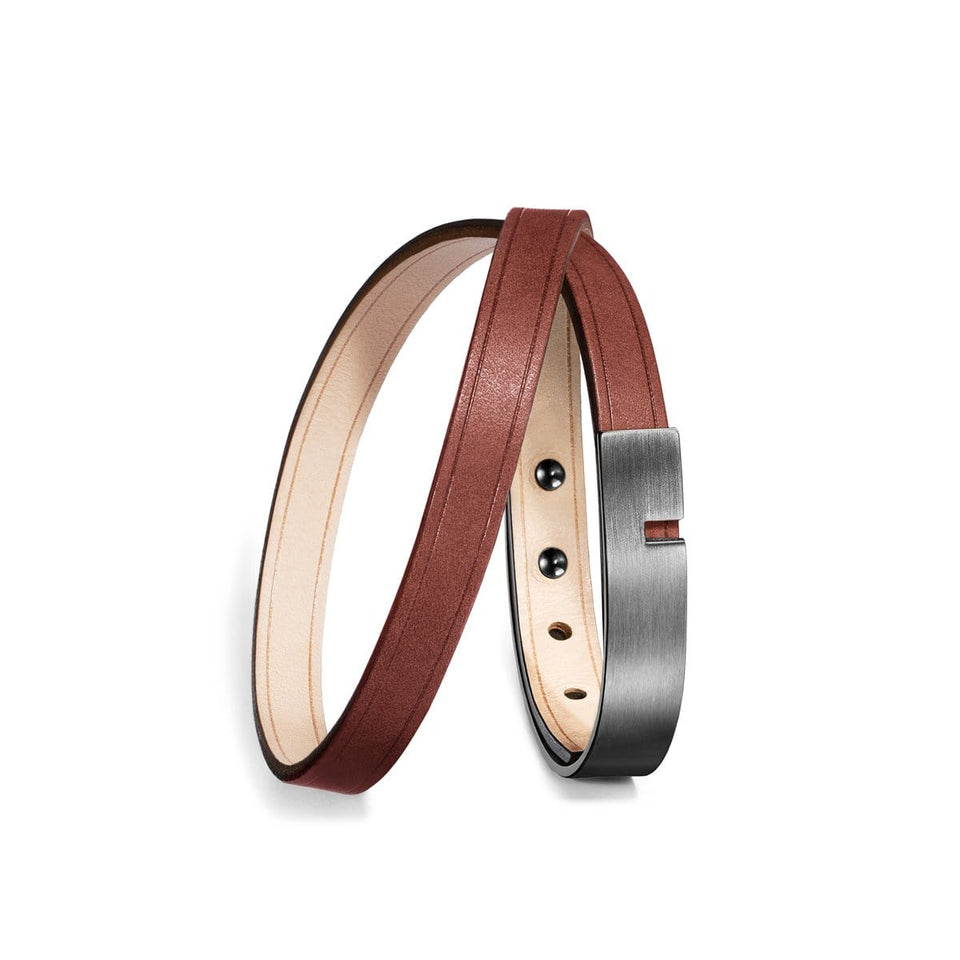 Bracelet cuir homme marron, U-TURN double