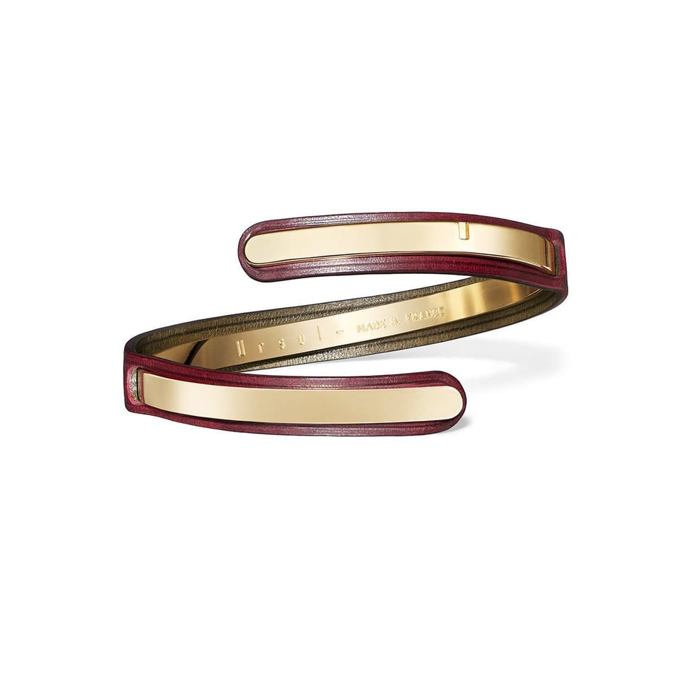 bracelet serpent cuir bordeaux