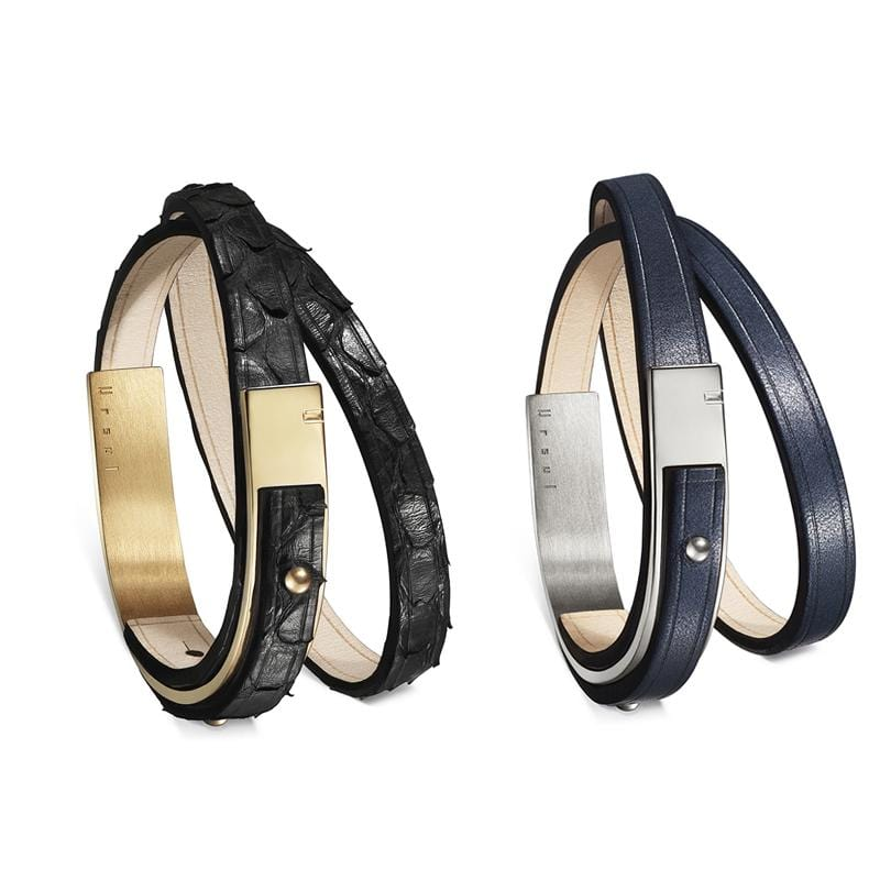 REVOLUTION bracelet - Leather bracelet in duo - Black snake & Blue