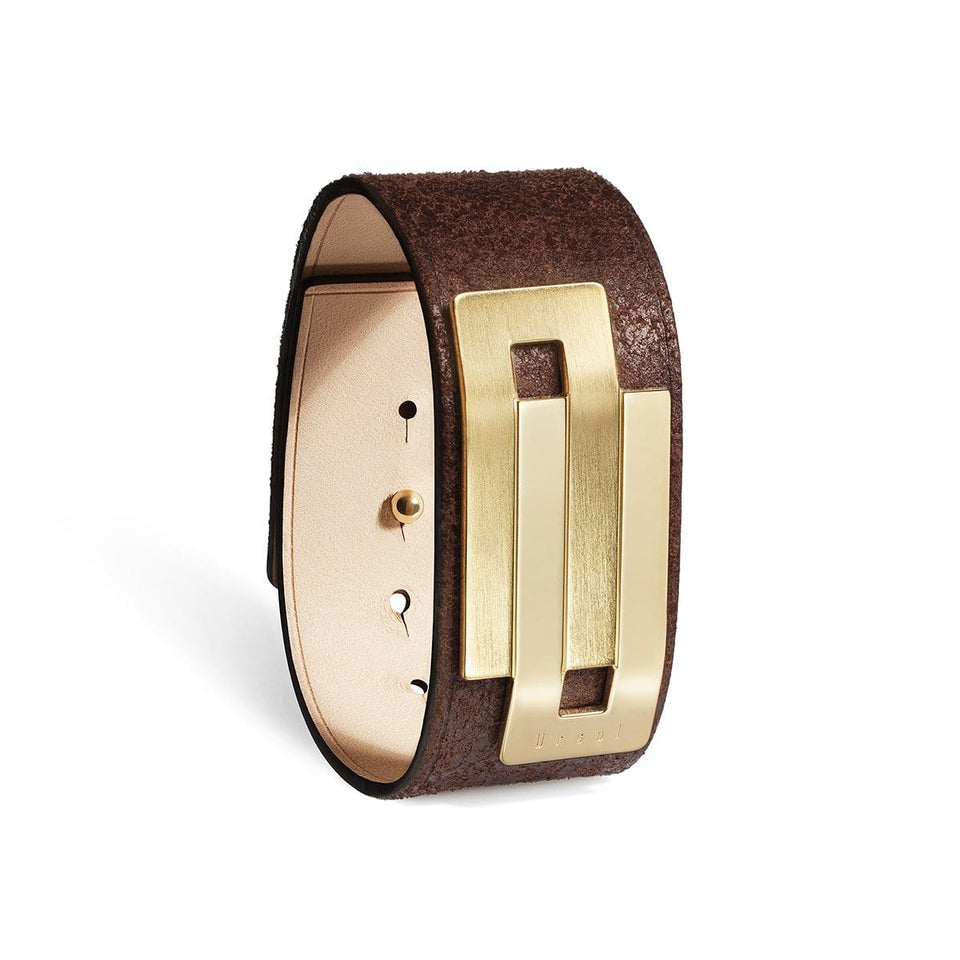 Brown leather cuff EMBRACE 26