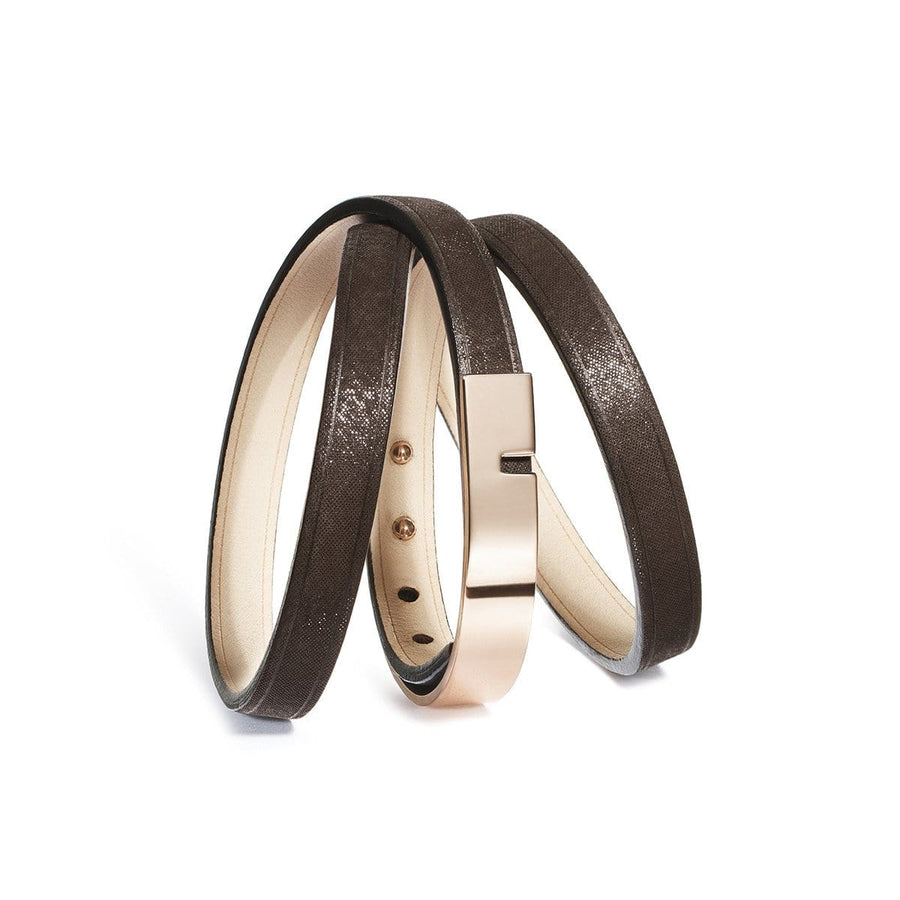 U-TURN TRIPLE Marron Glacé - Bracelet Cuir femme - Ursul Paris