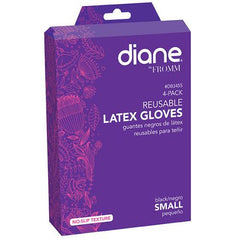 Diane Reusable Black Latex Gloves-Small 4pk