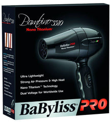 BABYLISS PRO HAIR DRYER NANO TITANIUM BAMBINO COMPACT DUAL VOLTAGE