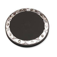 BRANDON MIRROR CRYSTALLIZED SWAROVSKI BLACK 5X ROUND 2.5 IN.