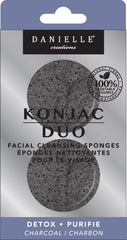 Danielle Konjac Duo Facial Cleansing Sponges-Charcoal