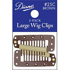 DIANE WIG CLIPS-LARGE BROWN 2-PACK