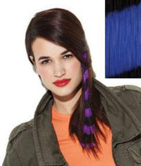 HAIR U WEAR CLIP-IN BRIGHT STRIPES 16 INCH BLUE/BLACK