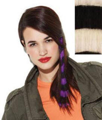 HAIR U WEAR CLIP-IN BRIGHT STRIPES 16 INCH WHITE/BLACK