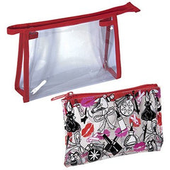Harry Koenig 2 Piece Clear Cosmetic Bag Set