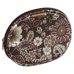 HARRY KOENIG BROWN FLORAL OVAL COSMETIC BAG