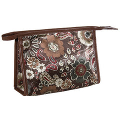 HARRY KOENIG BROWN FLORAL SQUARE COSMETIC BAG