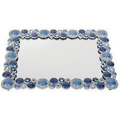 HARRY KOENIG MIRRORED VANITY TRAY-BLUE STONE BORDER
