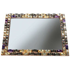 HARRY KOENIG MIRRORED VANITY TRAY-STONE BORDER