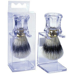 HARRY KOENIG SHAVING BRUSH CLEAR HANDLE ON MATCHING STAND