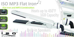 ISO BEAUTY MP3 PLAYER NANO CERAMIC TOURMALINE FLAT IRON 1 1/4 INCH