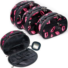 KINGSLEY 3 PIECE COSMETIC BAG SET W/LIP PRINT
