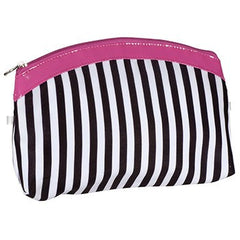 KINGSLEY BLACK AND WHITE STRIPED COSMETIC BAG