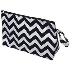 KINGSLEY BLACK/WHITE CHEVRON COSMETIC BAG