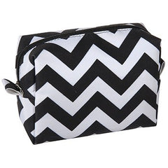 KINGSLEY BLACK/WHITE CHEVRON SMALL COSMETIC BAG