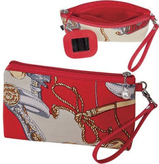 KINGSLEY RED PRINT COSMETIC BAG WITH WRIST STRAP