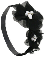 MIA FLOWER HEADBAND TRIPLE FLOWER BLACK
