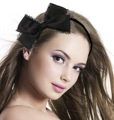 MIA FRAYED BOW BLACK