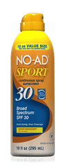 NO AD SPORT CONTINUOUS SPRAY SUNSCREEN SPF 30 10 OZ