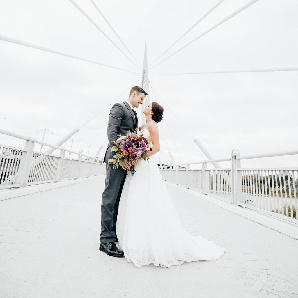 Bride and Groom on the Esplanade Riel bridge