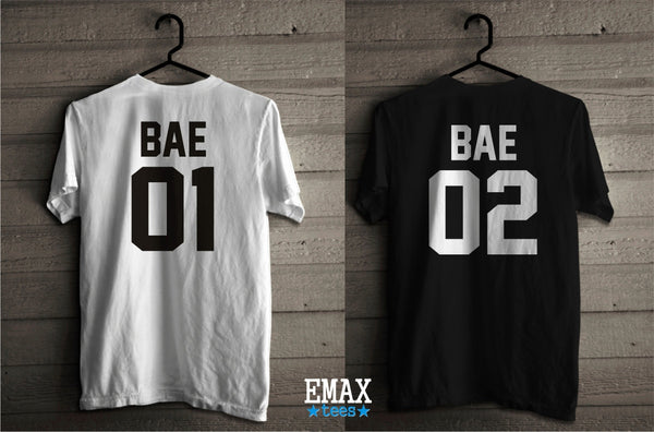 Bae 01 Bae 02 Couple Shirts, Matching Tees for Girl and Boy, Unisex 100% Cotton, Clothes for Men and Woman Bae Couples Tshirts