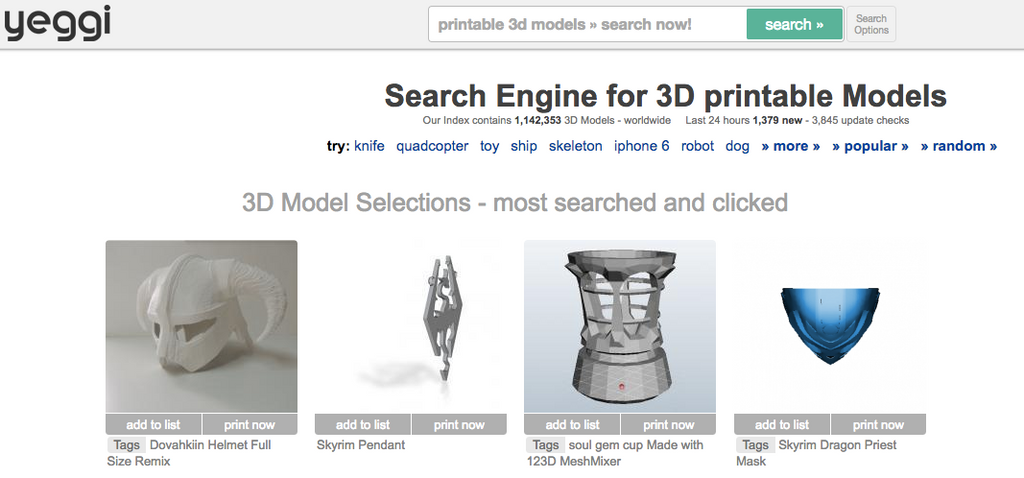 yeggi 3d printing file library
