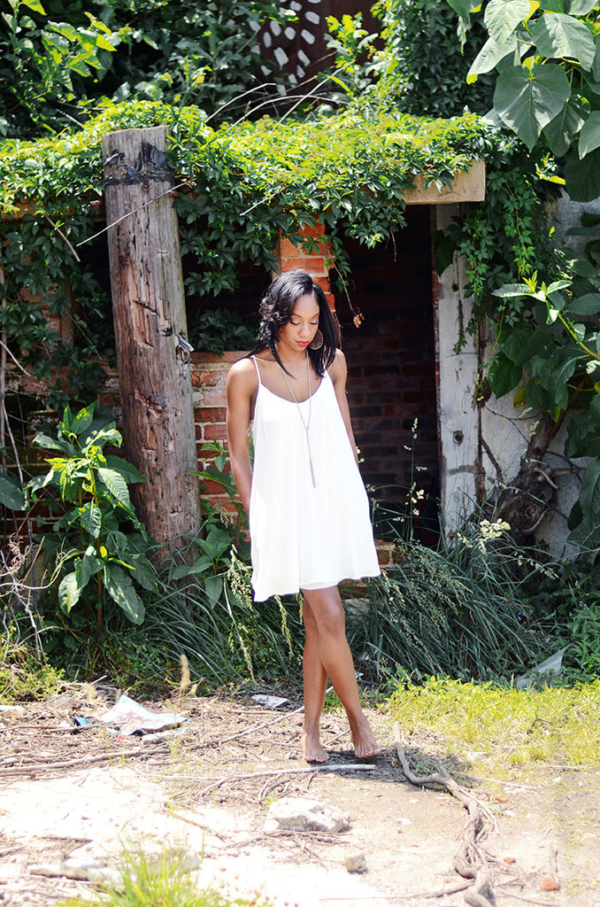 Katie Pocket White Tank Dress