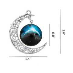Galaxy & Crescent Cosmic Blue Moon Pendant Necklace, Blue Glass, 17.5'' Chain, Great Gift for Women