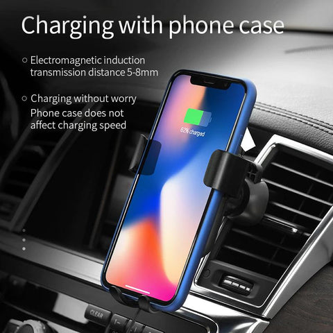 Car Mount Charger - Certified Fast Wireless Phone Charger - Automatic Gravity 10W Qi Fast Charging Car Phone Holder