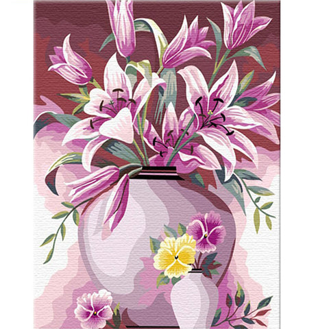 DIY Paint by Numbers Kit for Adults -Pink Flowers Vase