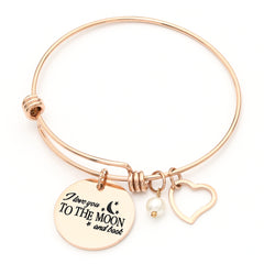 Charm Bracelet I Love You to The Moon & Back Adjustable Bangle Gift for Women Girl Sister Mother Friends Womens Rose Gold