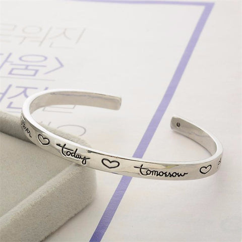 """Friends Forever Today Tomorrow Always"" Engraved Bracelet - Friendship Jewelry"