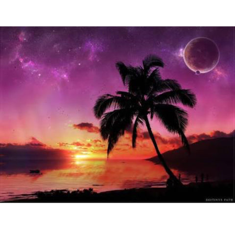 DIY Paint by Numbers Canvas Painting Kit for Kids & Adults - Purple Summer Nights Palm