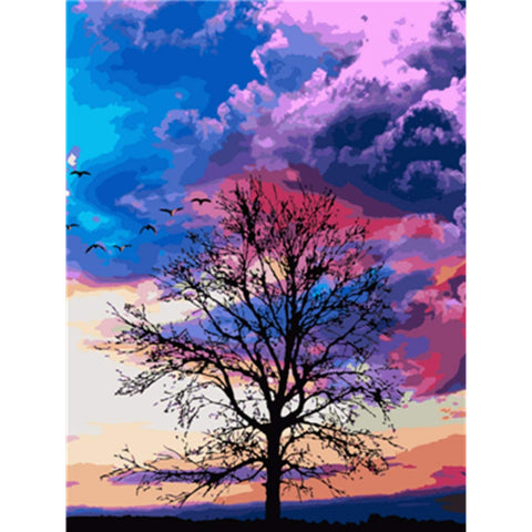 DIY Paint by Numbers Canvas Painting Kit for Kids & Adults- Lonely Tree Under Pink Sky