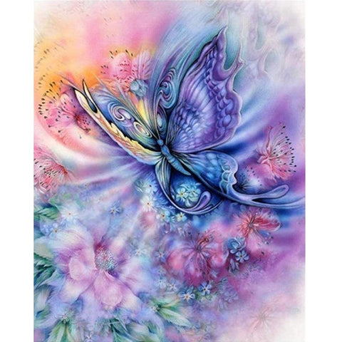 DIY Paint by Numbers Canvas Painting Kit for Kids & Adults - Blue Butterfly