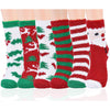 Image of Winter Socks for Women - Soft Warm Fluffy Cozy - Colorful Reindeer Snowman Socks - [6 Pairs]